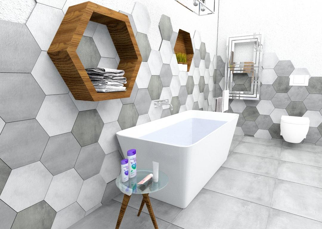 azienka heksagony mix 30x30 inspiracje kaflando. Black Bedroom Furniture Sets. Home Design Ideas