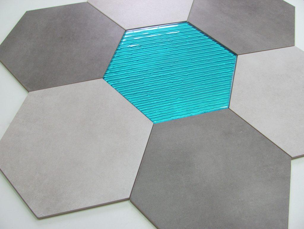 dekor szklany HEXON TURKUS 30x30 & BETONIC 1