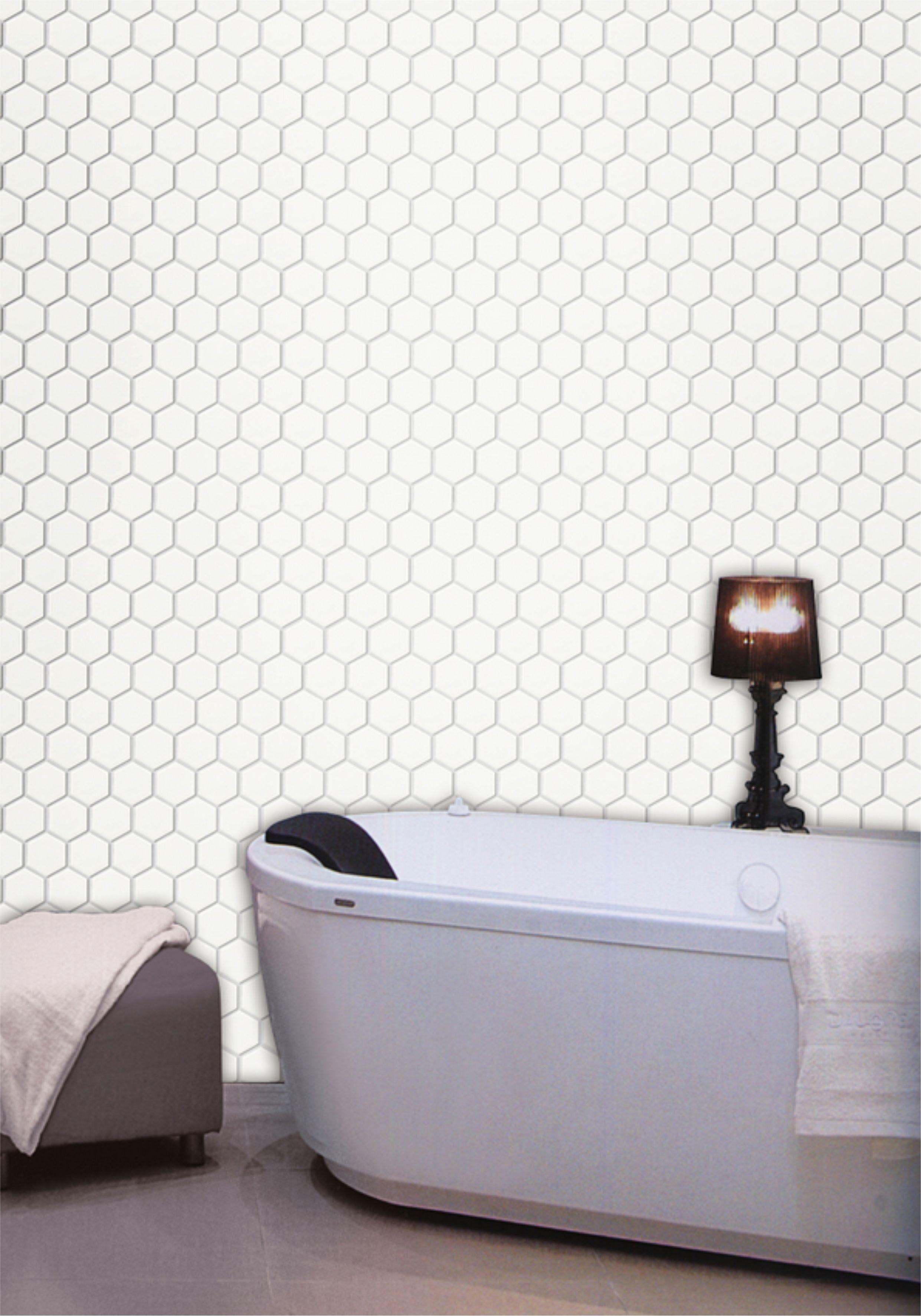 Mozaika Heksagonalna Heksagon White Połysk 30x30 48x48