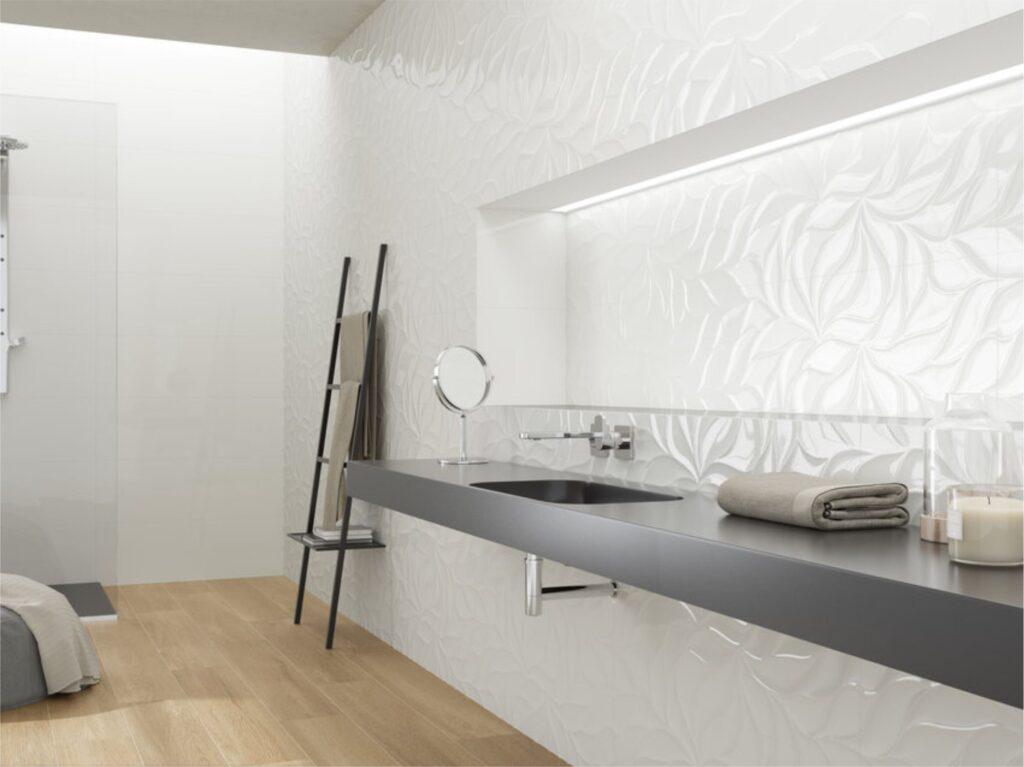 glazura biała 90x30 SHINY LEAVES aranżacja