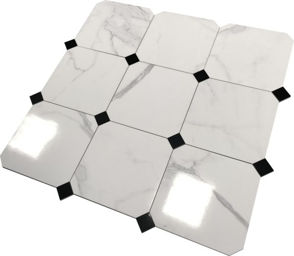 oktagon CARRARA PLATINA 30×30 9szt białe 1
