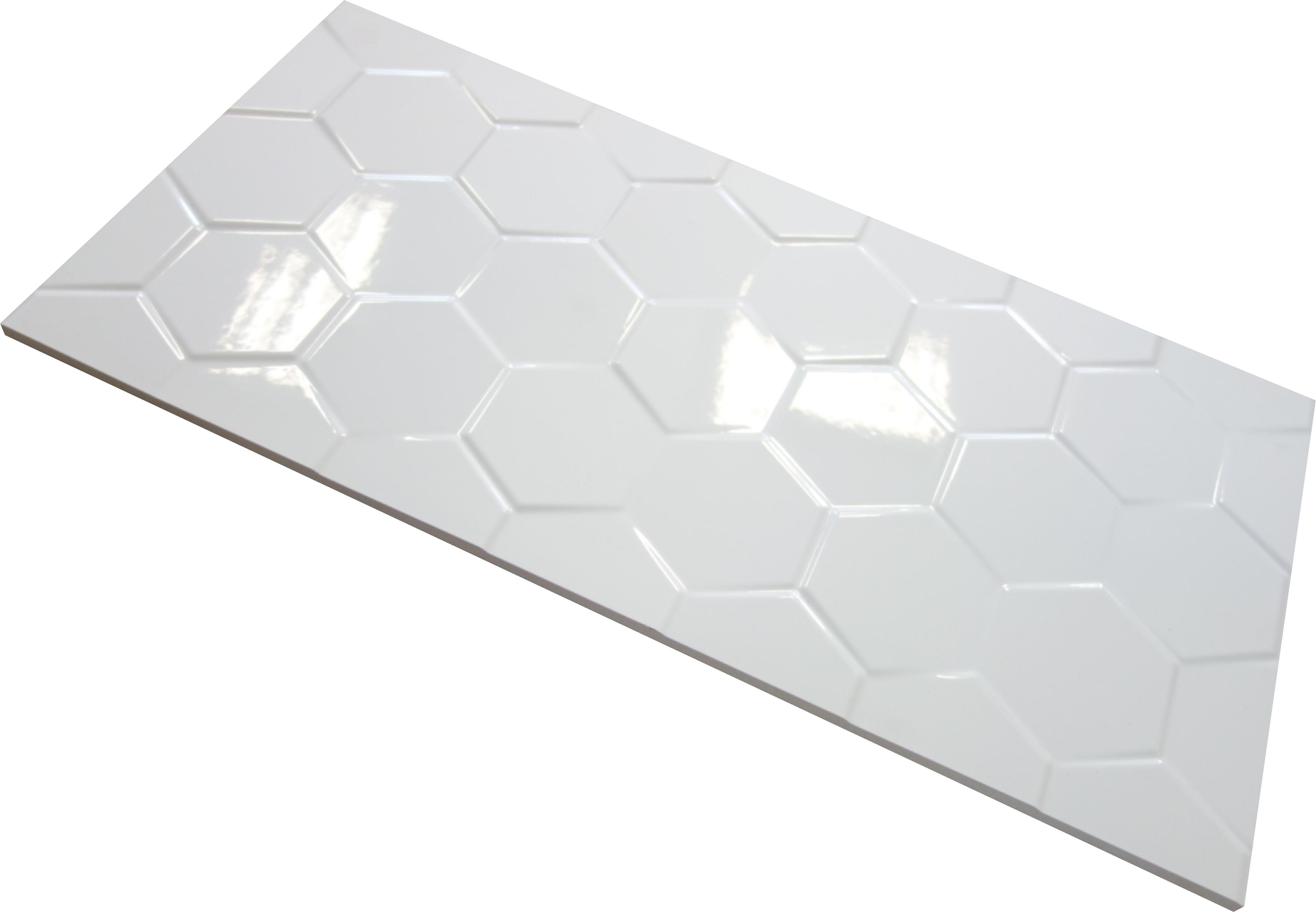 Płytki 3d Glazura Biała Pure White Hexagone 60x30cm Gati