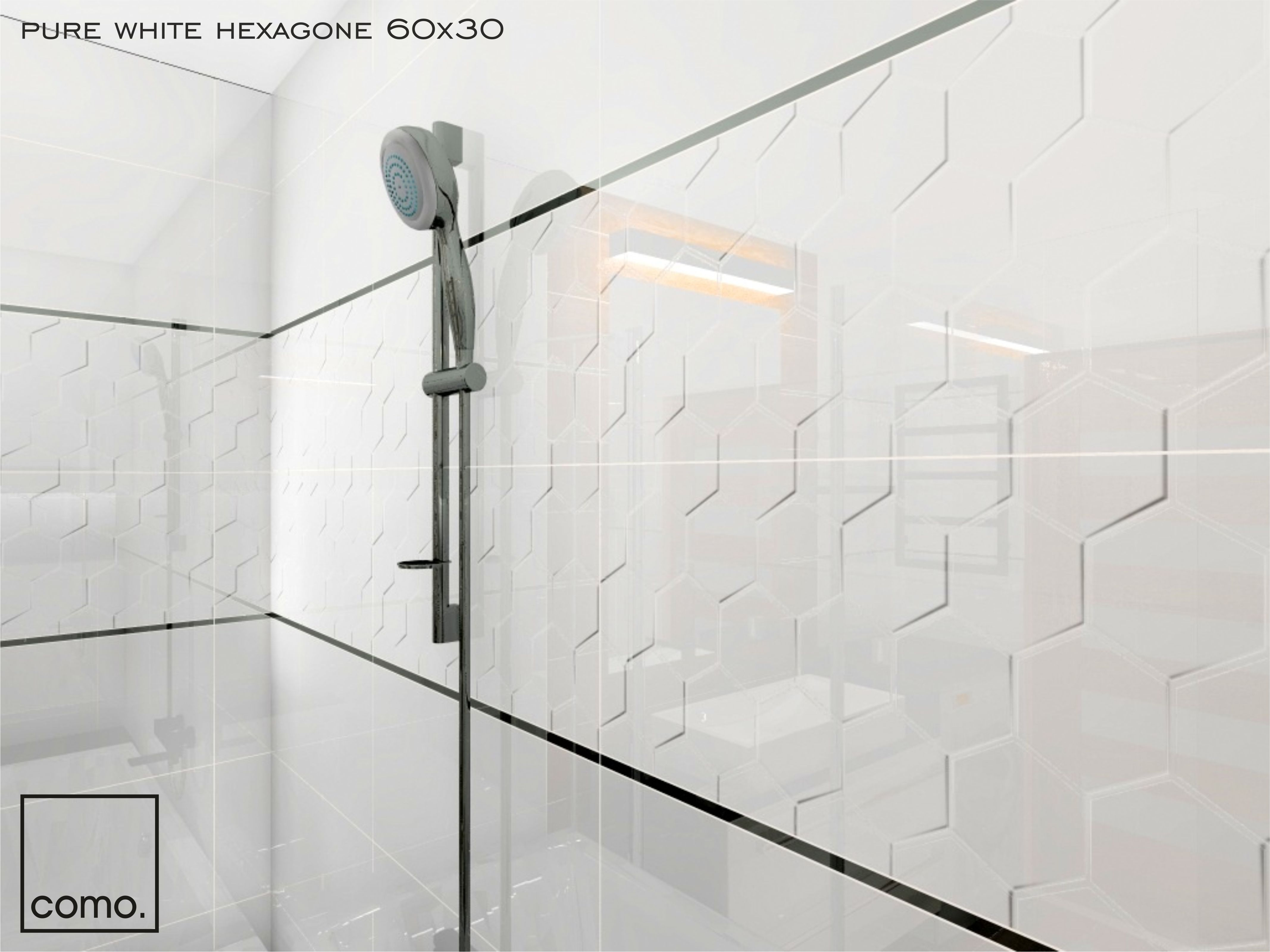 Glazura Biała Dekor 3d Struktura 60x30 Hexagone
