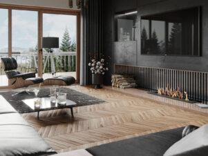 płytki drewnopodobne w salonie