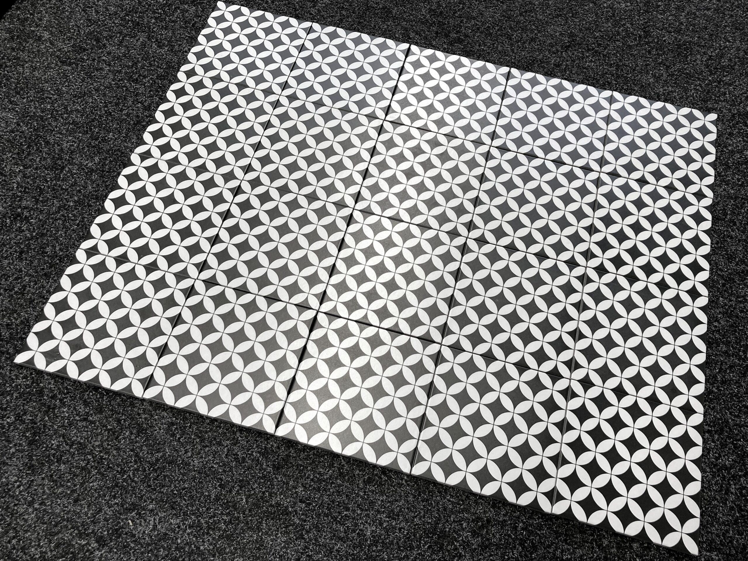 gres patchwork czarno białe kółka