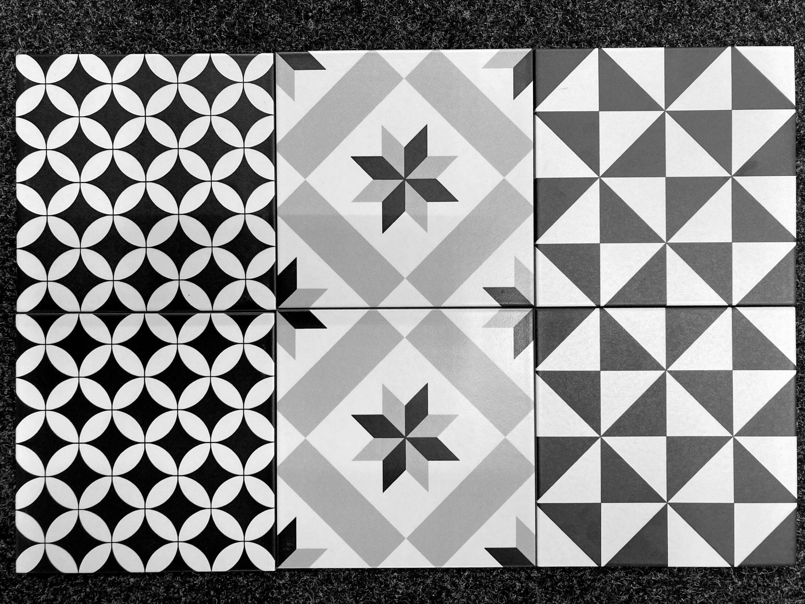 płytki patchwork czarno białe